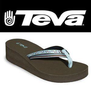 Teva Mandalyn Wedge Double Strap Sandals - Size 8